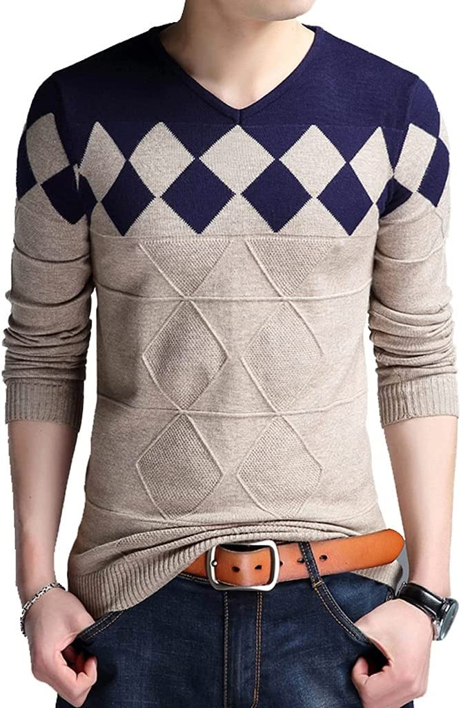 ZTTZX Autumn Vintage Sweater Men Collarless Sweater V-neck Casual Slim Sweaters Men for Business (Color : Blue, Size : M code)