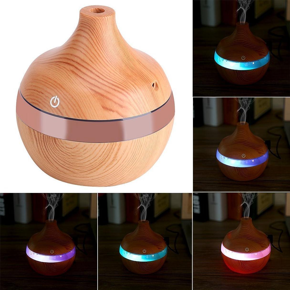 る常習的興奮するアロマディフューザー - Delaman 卓上加湿器、木目調、7色変換
