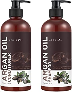 Aprilis Moroccan Argan Oil Shampoo and Conditioner Set, Organic Volumizing & Moisturizing Treatment for Hair Loss, Damage, Thinning and Color Treated Hair, Hair Regrowth for Men & Women, 2 X 16 fl. oz