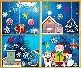 O-Kinee Natale Adesivi Vetro, Natale Vetrofanie, Natale Adesivi Porta, Finestre Adesivo Babbo Natale Pupazzo di Neve Alce Natale Adesivi, Rimovibile Murali Fai da Te Sticke Statico (Natale 7)