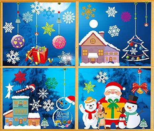 O-Kinee Weihnachten Fenstersticker, Fensteraufkleber PVC Fensterbilder Weihnachten Fensterdeko selbstklebend Fensterfolie Weihnachtsdekoration (Farbe-J)