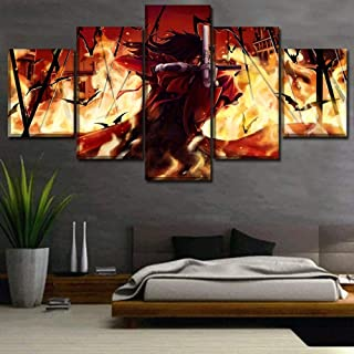 ZYYWAI 5 Canvas Paintings Mural Poster Living Room Decor Pieces Dark Anime Hellsing Modular Wall Art Hd Prints Pictures-12x16in 12x24in 12x32in