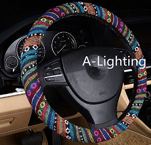 A-Lighting Ethnic Style Coarse Flax Cloth Automotive Steering Wheel...
