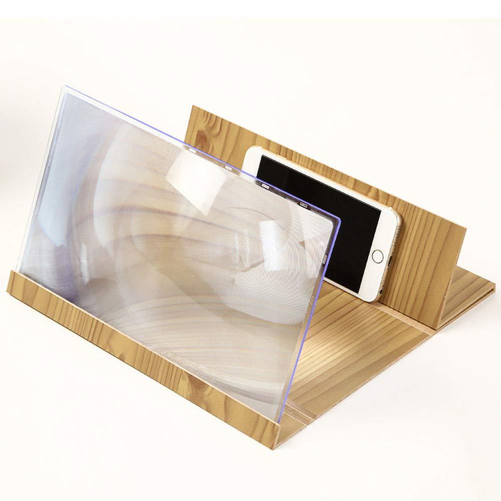 XUMING Agrandisseur de loupe d'écran de téléphone 3D, amplificateur d'écran de 14 Pouces Zoom 2-6 Fois, agrandisseur d'écran de téléphone Portable en Bois avec Support Pliable