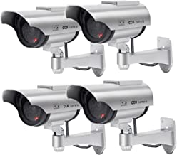 Solar Powered Dummy Security Camera, Bullet Fake Surveillance System with Realistic Red Flashing Lights and Warning Sticker Indoor Outdoor (4, Silver)