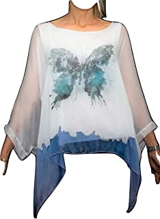 Blusa Butterfly, Camicia, Casacca 100% Seta Shirt Butterfly 100% Silk Made in Italy