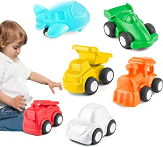 HISTOYE Cars and Trucks Toys for 1 2 + Year Old Boys & Girls, 6 Pack Pull Back Toy Cars for Toddlers, Preschool Baby Play Cars Set: Learning Vehicles & Colors