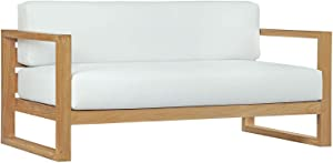 Modway Upland Teak Wood Outdoor Patio Sofa with Cushions in Natural White