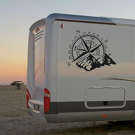 Pegatina Promotion Wohnmobil Wohnwagen Aufkleber Schöne Kompassrose Mit Bergen Gebirge Abenteuer Urlaub Wandern Ca 70cm Womi Wowa Camping Auto