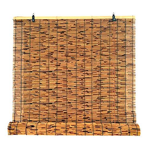 KDDEON Persianas Enrollables de Bambú Decorativas de Carbonización Retro,Cortina de Paja con Aislamiento Térmico,Partición de Balcón Terraza Privacidad Persianas Romanas (130x280cm/51x110in)
