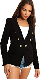 Crazy Girls Womens Double Breasted Classic Blazer Ladies Gold Button Slim Fit Long Sleeve Suit Jacket Lightweight Casual T...