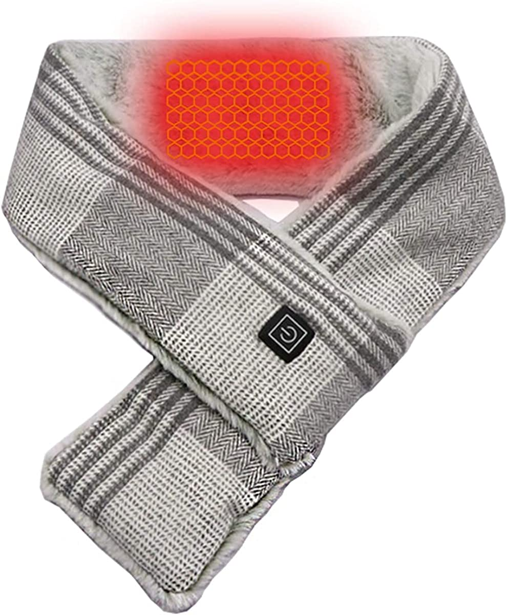 Electric Heated Scarf for Neck Pain Relief,USB Heated Scarfs with 5000mAh Powerbank for Women and man