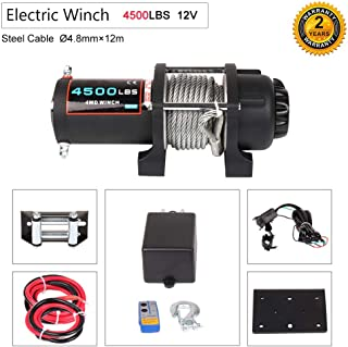 OCPTY Winches Waterproof Offroad 4500 lbs 12V Electric Winch with Aluminum Fairlead/10 feet Steel Cable/Wireless Remote Control/Switch Assembly/Negative/Positive Wire/Control Box for UTV/ATV/Off Road