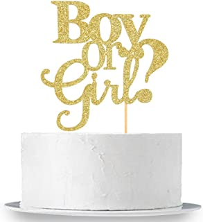 Gold Glitter Boy Or Girl Cake Topper - Elegant Baby Shower Gender Reveal Party Photobooth Props