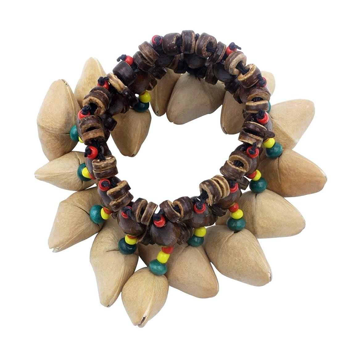 相対サイズ六分儀脈拍Dora Nutshell African Drum Hand Bell Drum Musical Instrument Bell Accessories-Wood Color