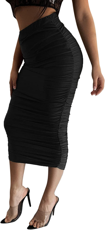 SheIn Women's Ruched High Elastic Waist Bodycon Pencil Solid Long Maxi Skirt