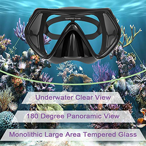 WACOOL Adults Snorkeling Package Set for Men Women, Anti-Fog Coated Glass Diving Mask, Snorkel with Silicon Mouth Piece,Purge Valve and Anti-Splash Guard.(Black)