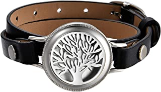 Mens Womens Essential Aromatherapy Oil Diffuser Locket Tree of Lift,Music Symbol Charm Leather Wrap Bracelet with 8 Color Pads,Size Adjustable,Black