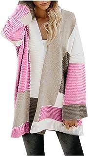 Cárdigan de Manga Larga con Estampado de Leopardo de Punto Camiseta con Bolsillo de Mujer de Moda Chaqueta de suéter Superior