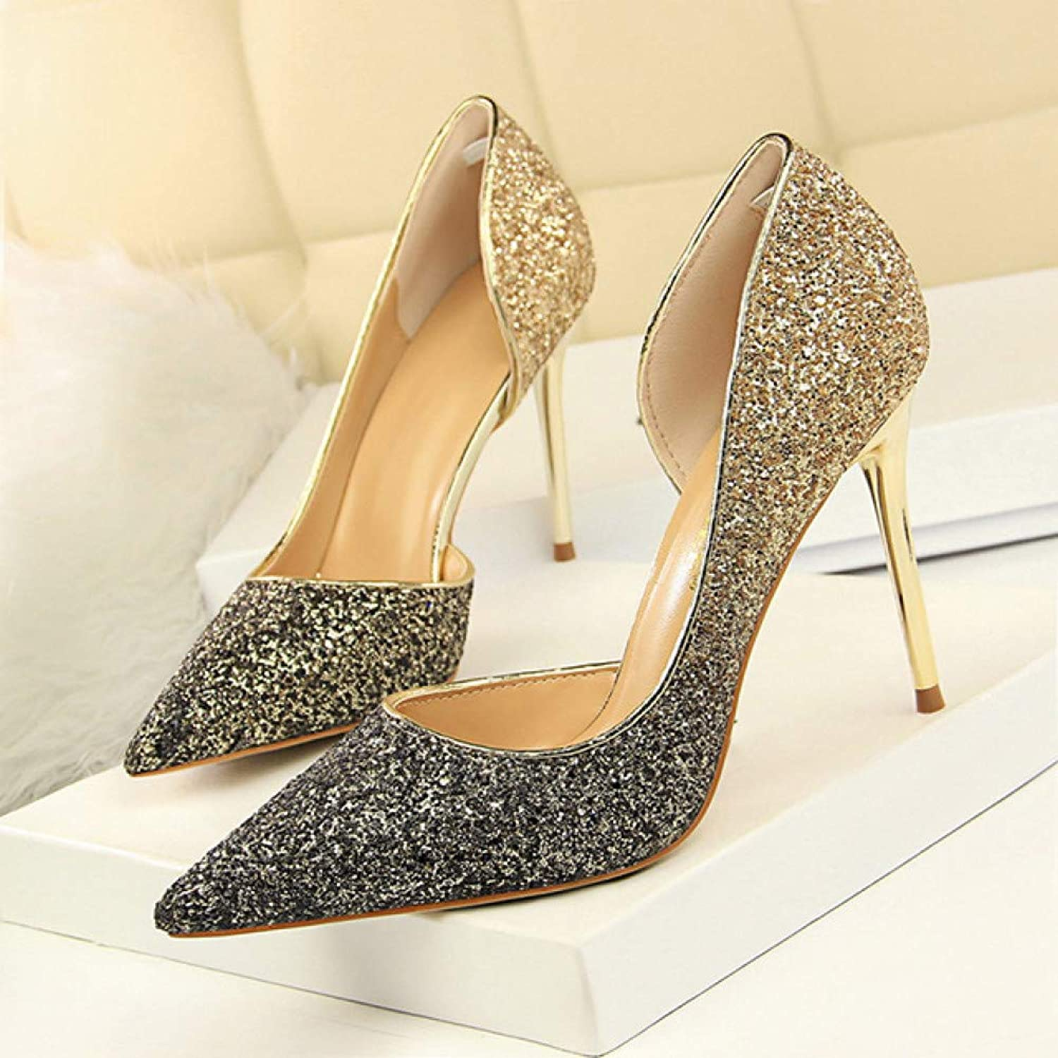 FASZQ Women Pumps Extrem High Heels Women shoes Thin Heels Female shoes Wedding shoes gold Sliver White Ladies shoes