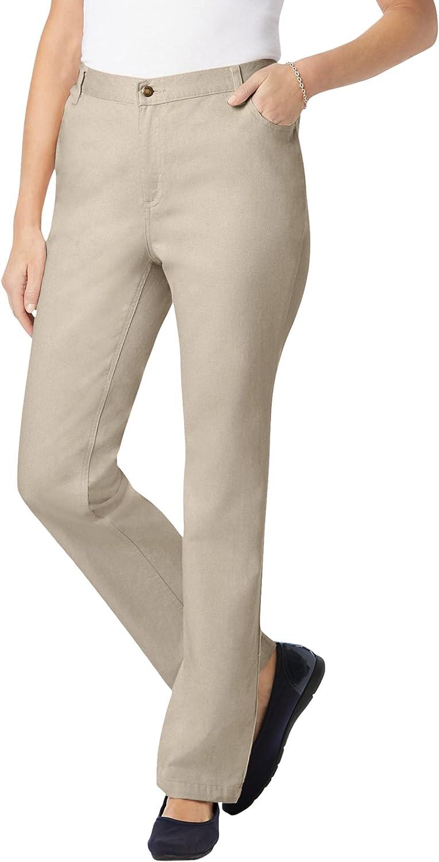 Woman Within Women's Plus Size Side-Elastic Straight Leg Cotton Jean