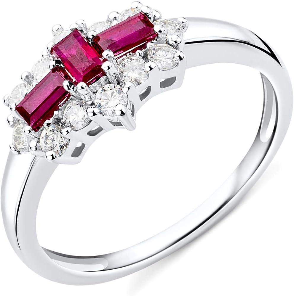 Miore ,anello da donna in oro bianco kt/ 375(2,13 gr) con rubini rossi 0,62 ct e 0,35 ct diamante JM9002R54