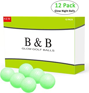 B&B Golf Balls, Night Glow Golf Balls Best Hitting Compression Core and Urethane Skin,Reusable Absorption of Light Nature (One Dozen), Pack of 12 Balls, White