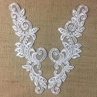 Bridal Applique Pair Lace Hand Beaded Corded Sequined Embroidered Sheer Organza, 10