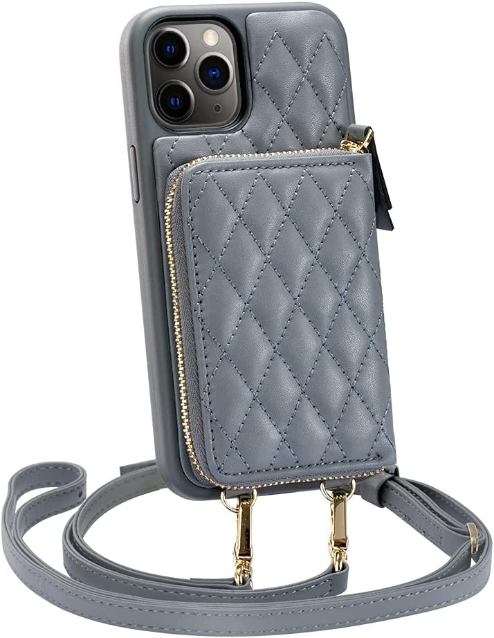 iPhone 11 Pro Max Wallet Case, LAMEEKU Zipper Wallet Case Card Holder Quilted Leather Crossbody Wallet Case for Lady with Wrist Strap Shockproof Case Compatible with iPhone 11 Pro Max, 6.5