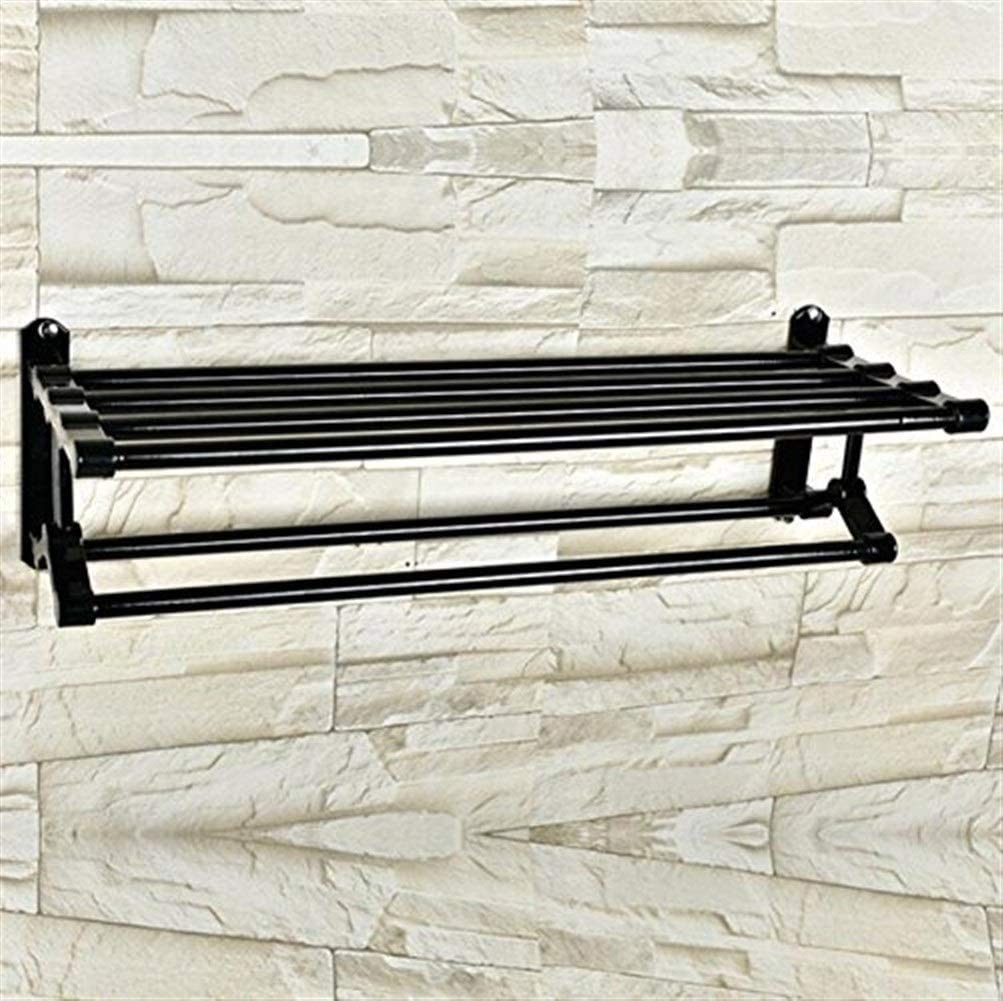 WHEEJE Bathroom Minneapolis Mall Large discharge sale Shelf Towel Rack Aluminum Space Mount Wall Black