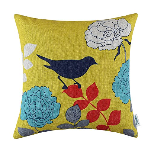 CaliTime Canvas Throw Pillow Cover Case for Couch Sofa Home Decoration Floral Cartoon Shadow Bird Silhouette 18 X 18 Inches Yellow Ground Navy Bird