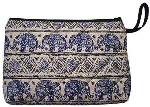 Makeup Cosmetic Bag Small Travel Purse Pencil Pen Case Pouch Elephant Canvas Unique Handmade Blue