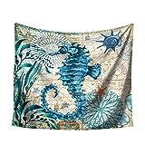 Lubier Tapiz de pared azul estilo marino tortuga hipocampo patrón...