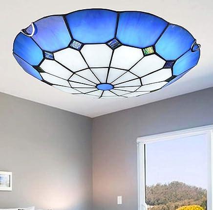 シンプルなティファニースタイルのLEDシーリングライト、手作りの青いステンドグラスの埋め込みLEDシーリングライト、寝室の照明に適して、LEDチップ、12W / 18W / 24W,Whitelight,50cm