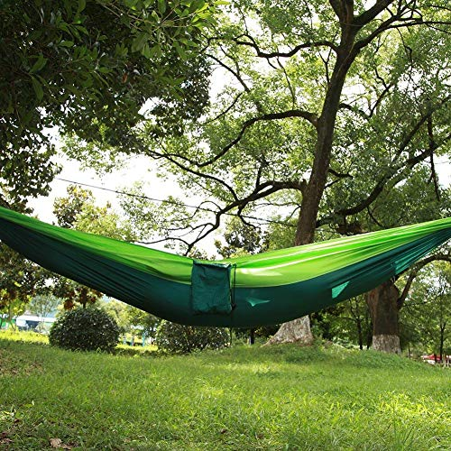 NITRIP Outdoor Hanging Bed Hanging Bed, Travel Hammock, Nylon Extra-Strong Portable Patio for Garden Hiking Backpacking(Fruit Green Fight Dark Green)