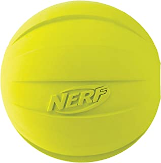 Nerf Dog Rubber Ball Dog Toy with Squeaker, Lightweight, Durable and Water Resistant, 4 Inch Diameter for Medium/Large Bre...
