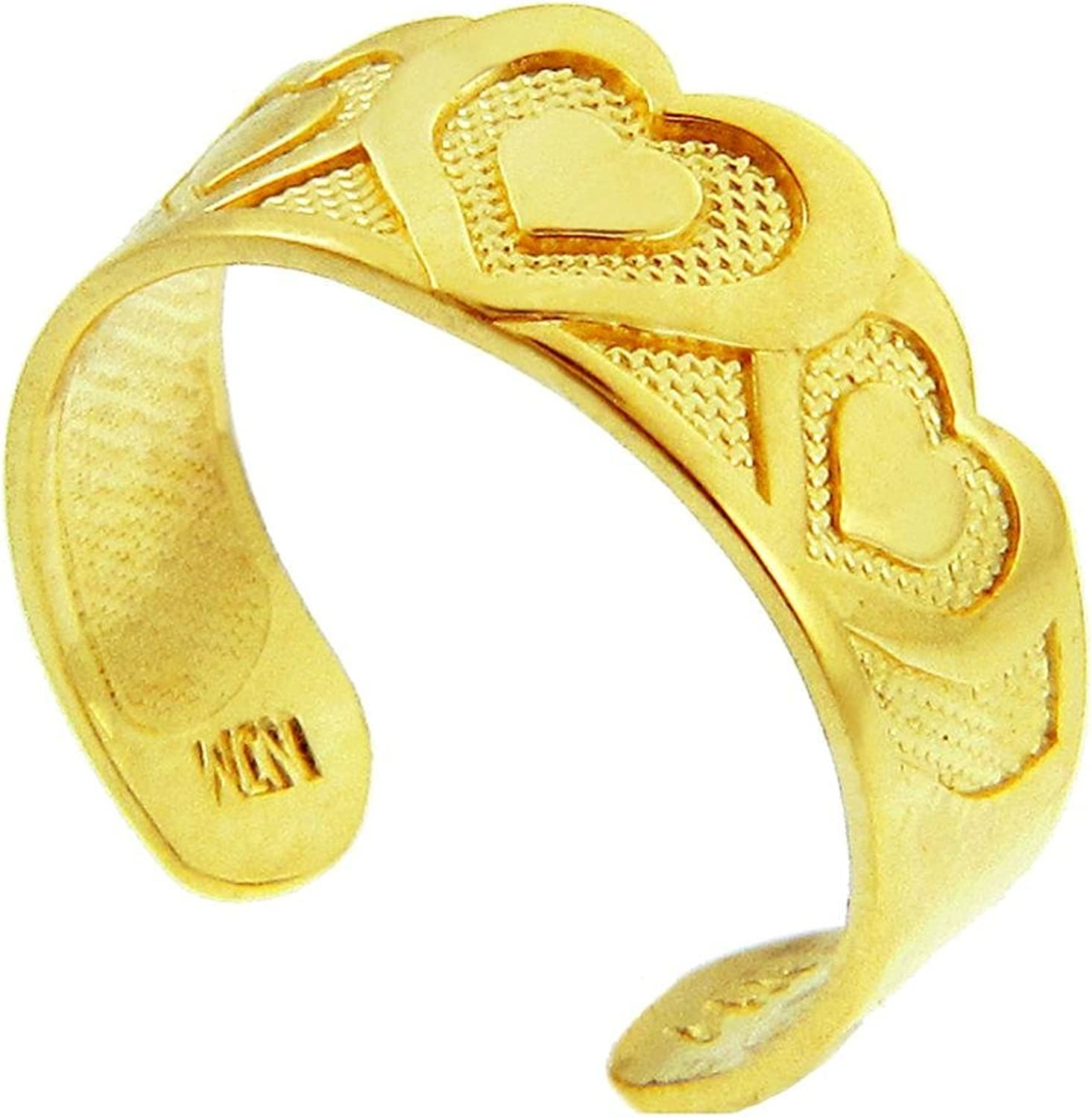 Bold Heart Yellow gold Toe Ring (10K gold)