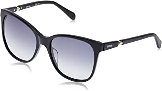 Fossil Women's Fos 2047/s Square Sunglasses, Shiny Black, 55 mm