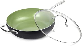 MICHELANGELO Large Nonstick Wok with Lid, 13 Inch  Large Wok Nonstick, Woks and Stir Fry Pans with Lid, Flat Bottom Wok, Induction Wok 13 Inch