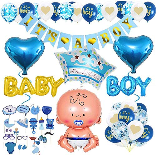 AiYoYo 40 Teile Babyparty Deko Junge Set Baby Shower für Jungs Baby Shower Dekoration Girlande - It's A Boy Girlande, Luftballons, , Fotobox,Geschenk - Blau