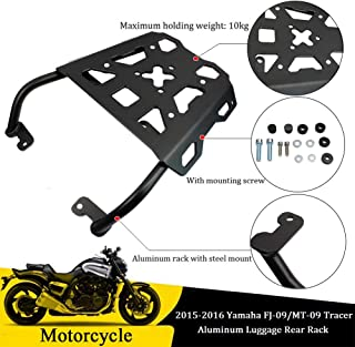 FATExpress Motorcycle Black Aluminum Luggage Top Rear Rack Carrier Fender Support w/Hardware for 2015 2016 Yamaha MT FJ 09 FJ09 MT09 FJ-09 MT-09 15-16