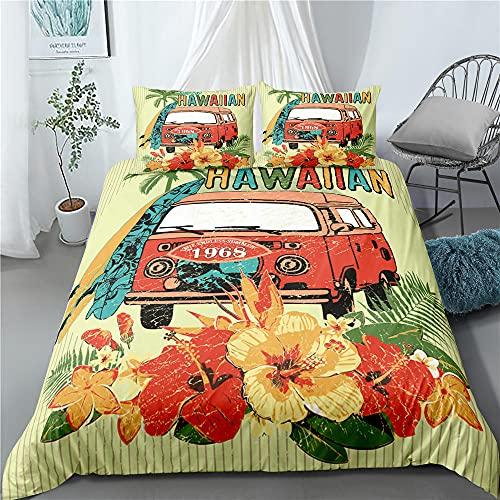 Verano playa de Surf de autobús 3 unids/set ropa de cama conjunto de habitación de los niños de la hoja de cama funda de almohada ropa de cama de la Reina Anime de dibujos animados,US Full(203x228)