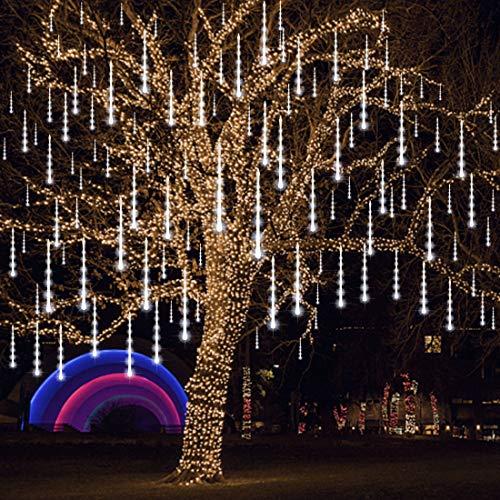 Joliyoou Meteor Shower Rain Lights, 12 Inch 8 Tubes 288 LEDs Christmas Snow Falling Lights, LED Tube Christmas Falling Rain Lights Outdoor Tree Lights (White)