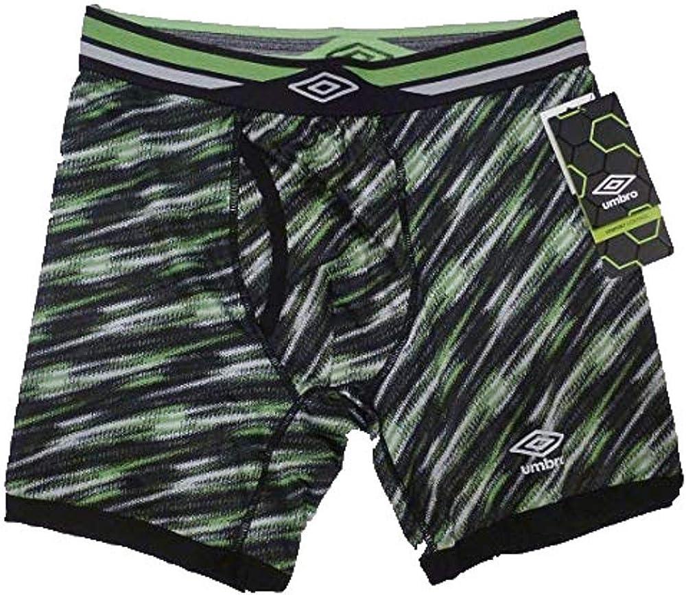 Umbro Men's High Performance Boxer Brief Stripe Black/Neon Green/Gray UM5089BB (Large)