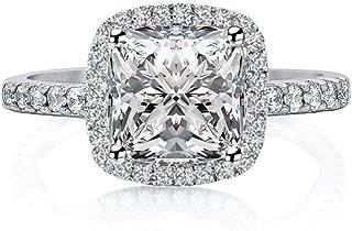 Venetia Top Grade Realistic 2.0 Carats Supreme Princess Cushion Cut NSCD Simulated Diamond Ring 925 Silver Platinum Plated Emerald Promise Wedding
