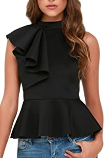 Dearlovers Women Ruffle Side Casual Peplum Top Shirt
