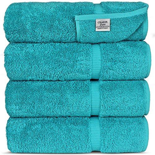 Luxury Hotel & SPA Bath Towel 100% Genuine Turkish Cotton, Set of 4 (Aqua Blue)