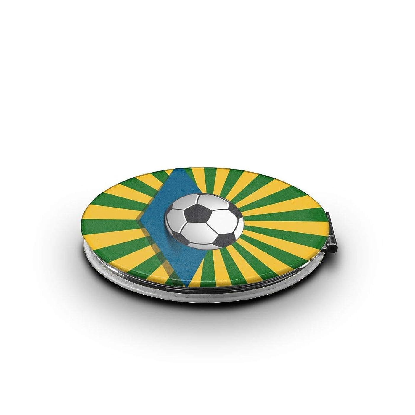 専門用語オーナー黙認するミラー 化粧鏡 サッカーボールとブラジルのサンバースト コンパクトミラー 軽量 丸型 折りたたみ鏡