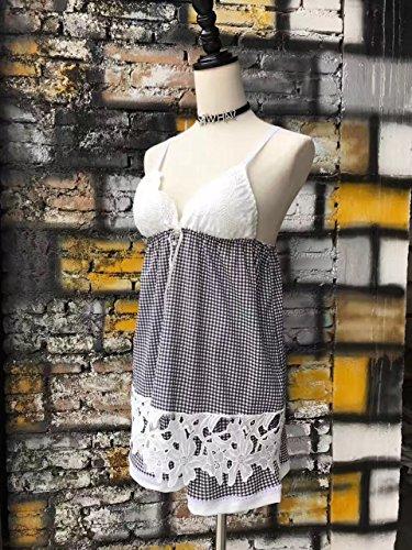 XBR - Pijama de Encaje de algodón con Dos Piezas de Ropa para Mujer, F, Red and White Aberdeen