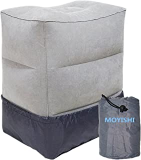 Moyishi Inflatable Foot Rest Adjustable Car Plane Leg Air Travel Pillow (Gray)